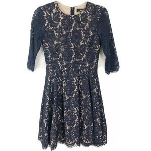 Lulus Blue Lace Dress Fit and Flare 3/4 Sleeve